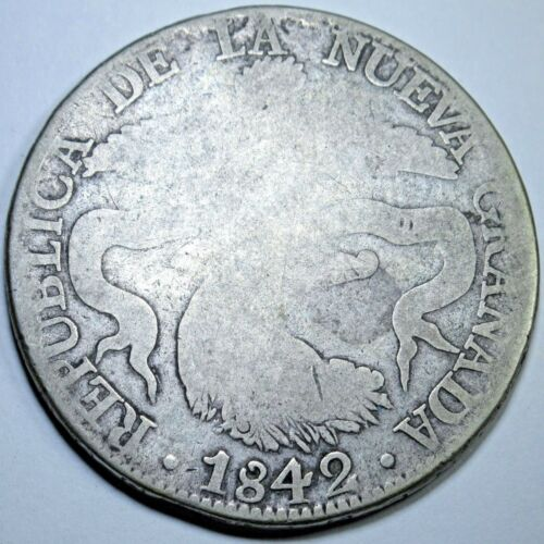 1842 Colombian Bogota 8 Reales Silver Dollar Old Antique Eight Real Coin