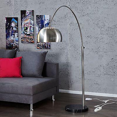 BIG BOW BOGENLAMPE CHROM GEBÜRSTET | Design Stehlampe, Dimmer, Wohnzimmerlampe