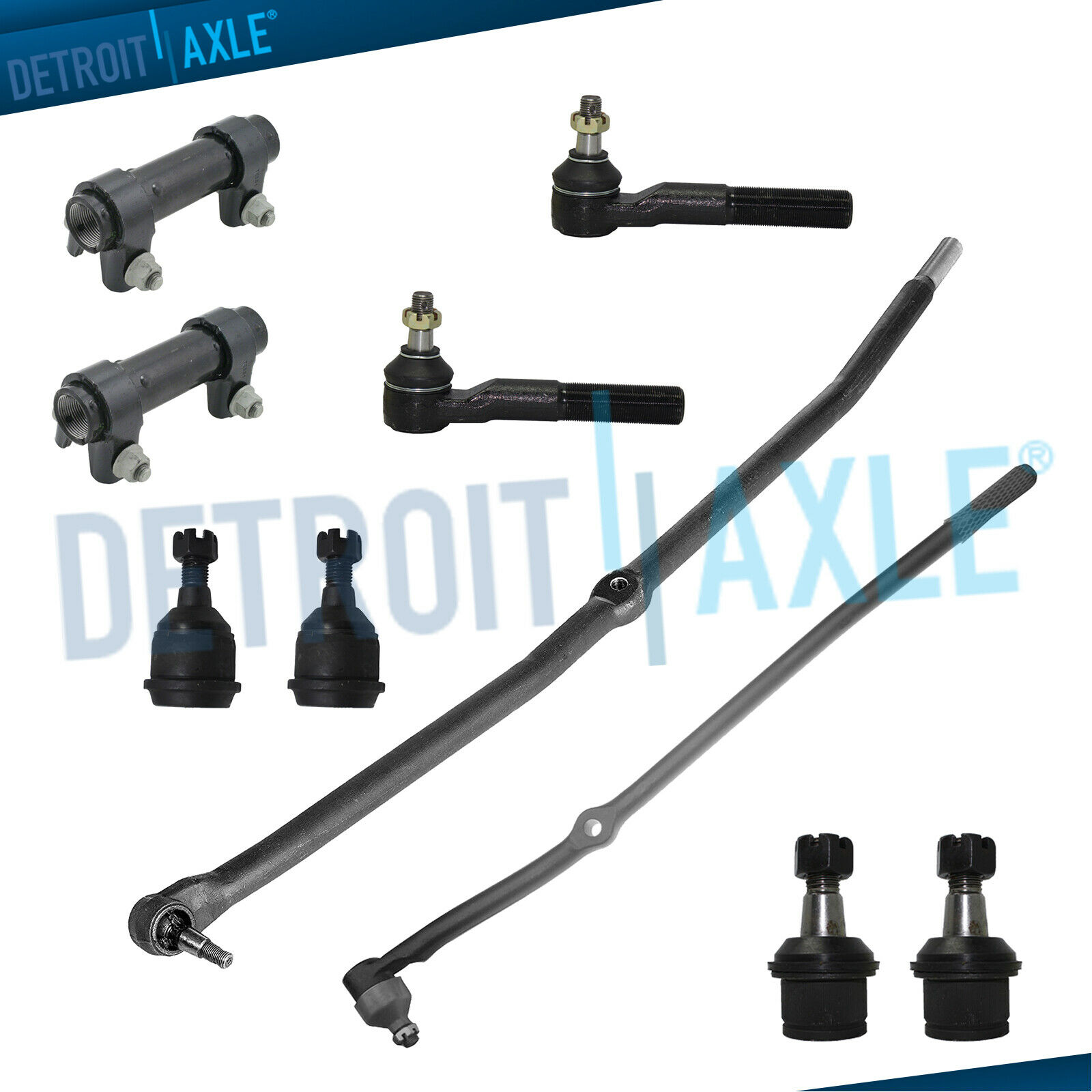 10pc Front Suspension Kit Tie Rods Ball Joint for 03-08 Dodge Ram 2500 3500 4x4