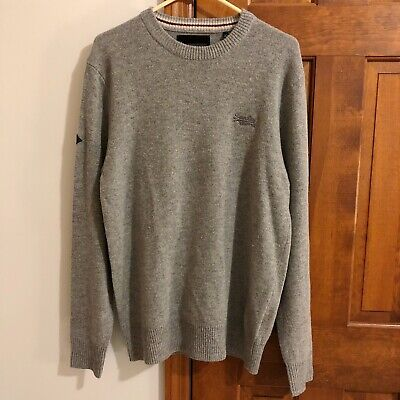 Superdry Mens Lambswool Blend Harlo Crew Neck Sweater - XL (Grey Marl)