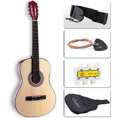 Beginners Acoustic Guitar with Case, Strap, Tuner & Pick Steel Strings Brown