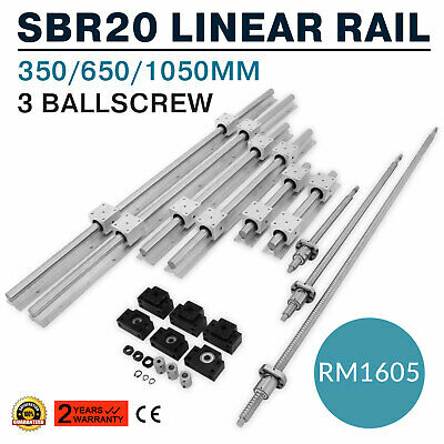 Us Sbr20 Linear Rail Set3 Ball Screw Rm1605-3506501050bkbf12coupler Cnc