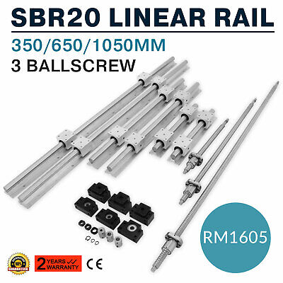 Us Sbr20 Linear Rail Set3 Ball Screw Rm1605-3506501050bkbf12coupler Cnc