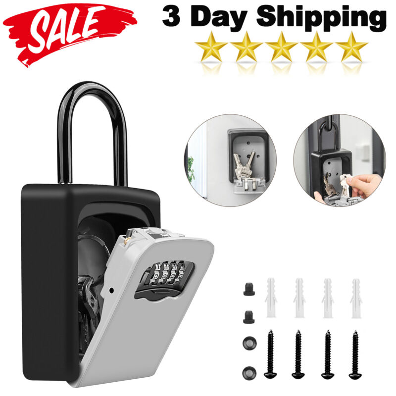 4 Digit Combination Password Safety Key Lock Box Padlock Organizer Storage Case