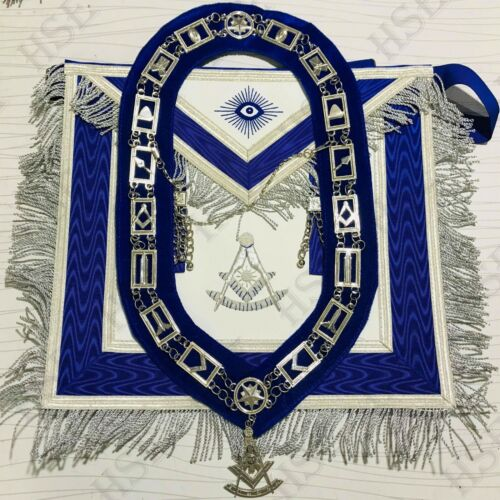 MASONIC REGALIA PAST MASTER  APRON BLUE WITH CHAIN COLLAR & JEWEL-HSE