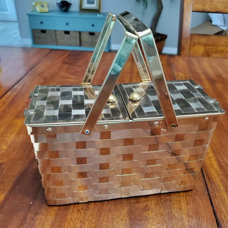 Vintage Goldstrom Of Fifth Avenue Gold Metallic Picnic Style Purse 1960s