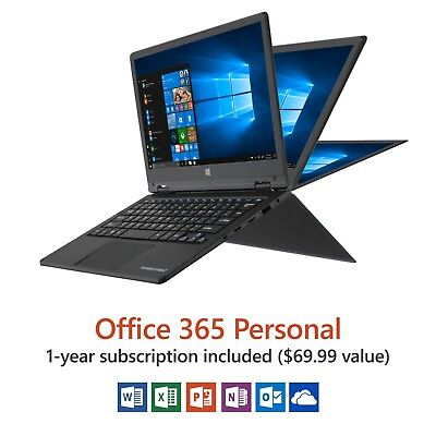 "Direkt-Tek 11.6"" Convertible Touchscreen Laptop, Windows 10, Office 365..."
