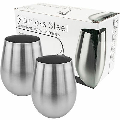 Stainless Steel Stemless Wine Glass 18oz Goblet Cup Drinking Tumbler Set of 2