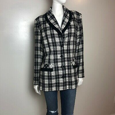 Eileen Fisher Large Women's Plaid Print Button Blazer Jacket Formal Business