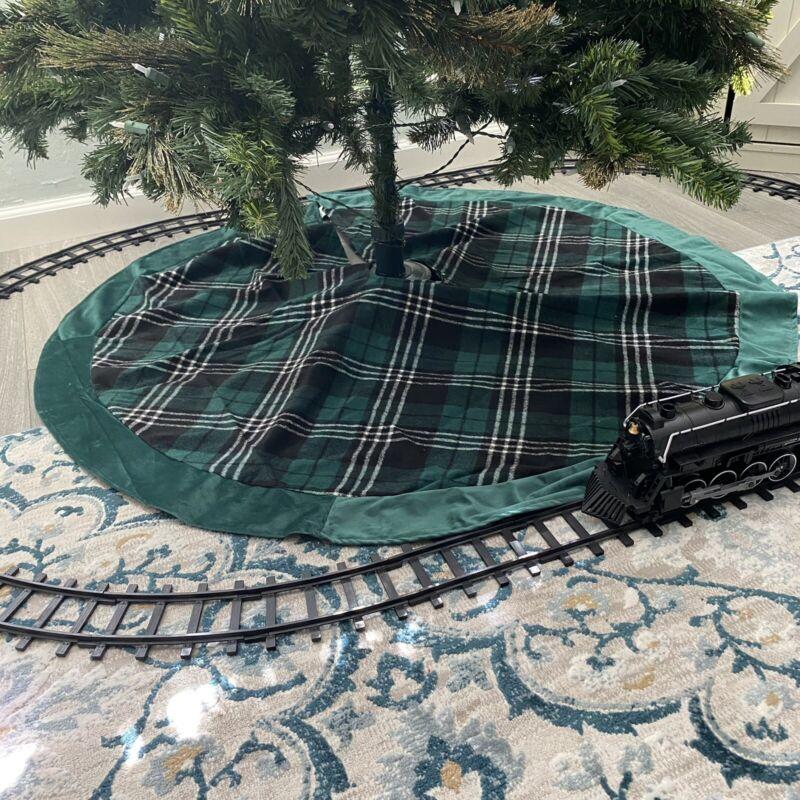"Macys Green Plaid 48"" Wide Christmas tree skirt"