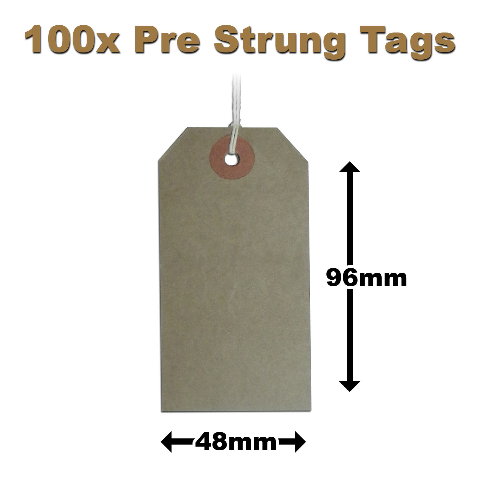 Pre-Strung Brown / Manilla / Buff Price Tags Tickets 96mm x 48mm 3MS x100 (H5)