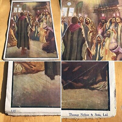 Poster Sunday School Biblical Theme antique 27x20
