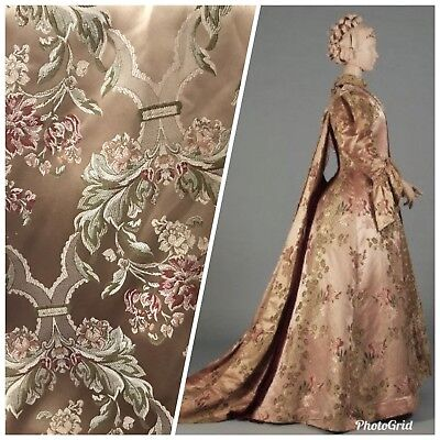 """SALE 110"""" Wide Designer Brocade Jacquard Satin Fabric- Antique Floral Rose Gold"""