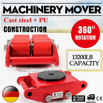 Heavy Duty Machine Dolly Skate Machinery Roller Mover Cargo Trolley 6 Ton Red
