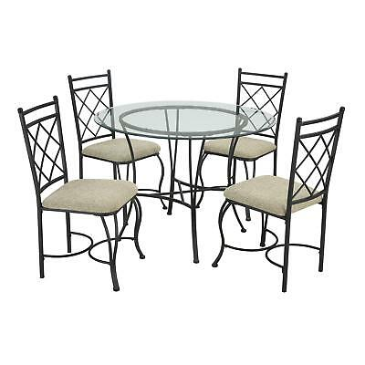 Dining Set 5-Piece Round Table Glass Top 4-Chair Upholstered Seat Home Kitchen