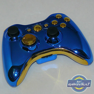 Xbox 360 Wireless Controller Official Custom Chrome Blue & Gold Fast Dispatch for sale  Littlehampton