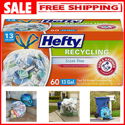 Recycling Tall Kitchen Trash Bags Clear 13 Gallon Hefty 60 Count Garbage Closure
