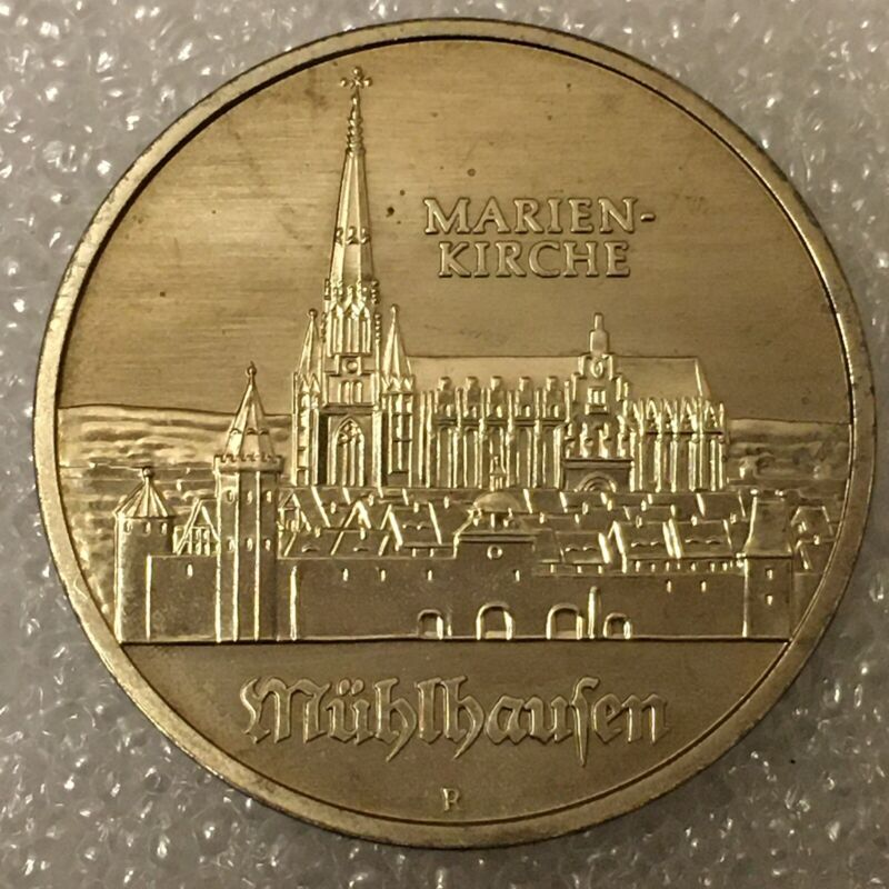 """1989 East Germany DDR 5 Mark Coin """"Marienkirche"""", free combined shipping."""