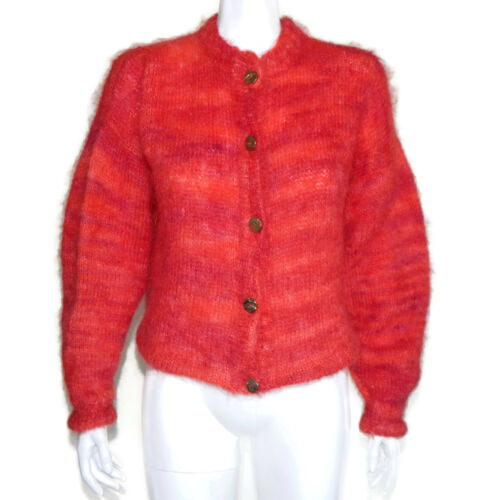 Vintage Mohair Space Dye Vibrant Pink Gold Button Cardigan Sweater sz L/XL /3683