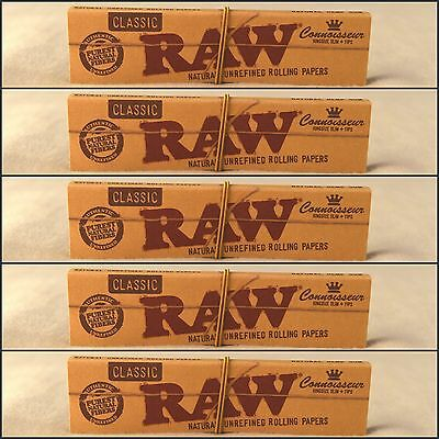 5 Packs Raw Classic Connoisseur King Size Slim Rolling Papers + Tips BEST