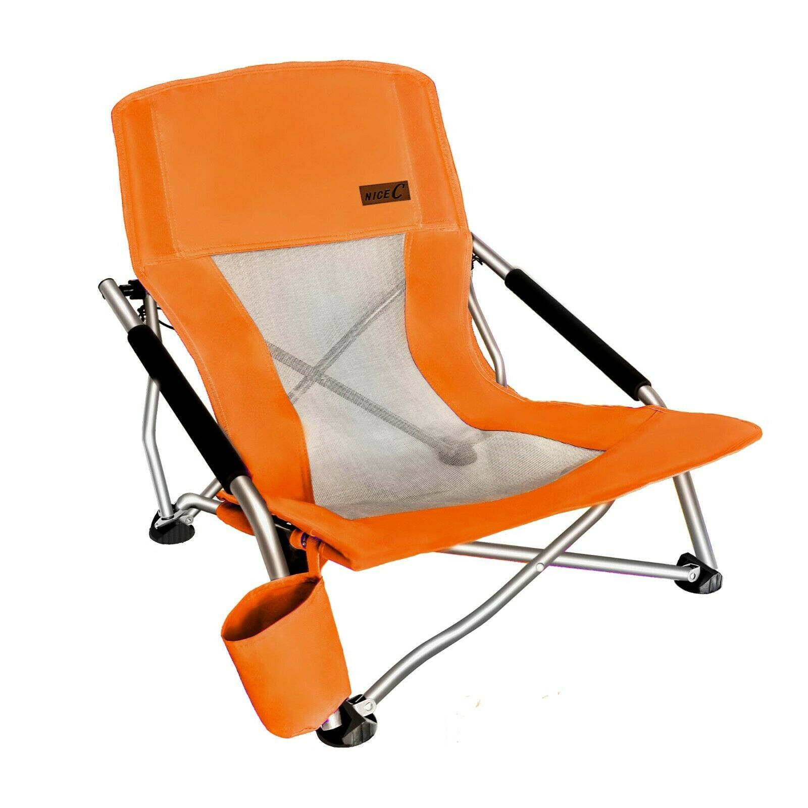 Folding Beach Chair With Cup Holder Portable Camping Ultralight Compact - Orange