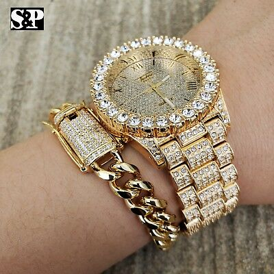 MEN'S HIP HOP ICED LAB DIAMOND WATCH & CUBAN LINK CHAIN BLING BRACELET COMBO SET ()