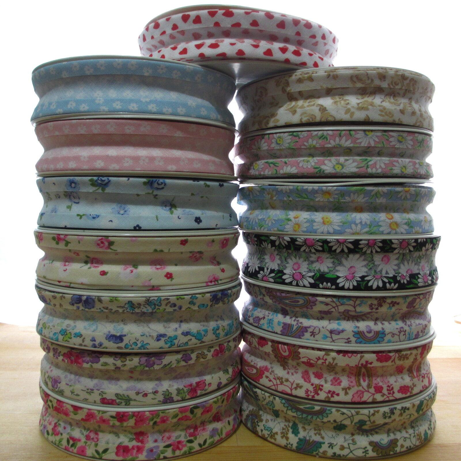 Designer bias binding 100/% cotton 25mm various patterns//florals Sold per Metre