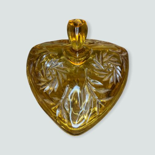 Vintage Hazel Atlas Amber Triangle Glass Candy Dish With Lid Pinwheel 1950s  - $19.99