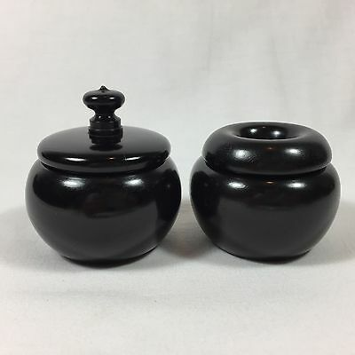 PAIR OF ANTIQUE EBONY WOOD JARS VINTAGE WOODEN DESK BOX VANITY BOXES WOODEN POT