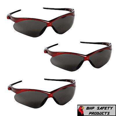 3 Pair Jackson Nemesis Safety Glasses Smoke Lens W Red Frame Sunglasses 22611