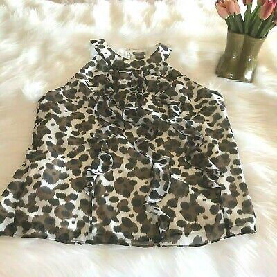 NWOT ANN TAYLOR Silk Sleeveless Animal Print Blouse Size Small