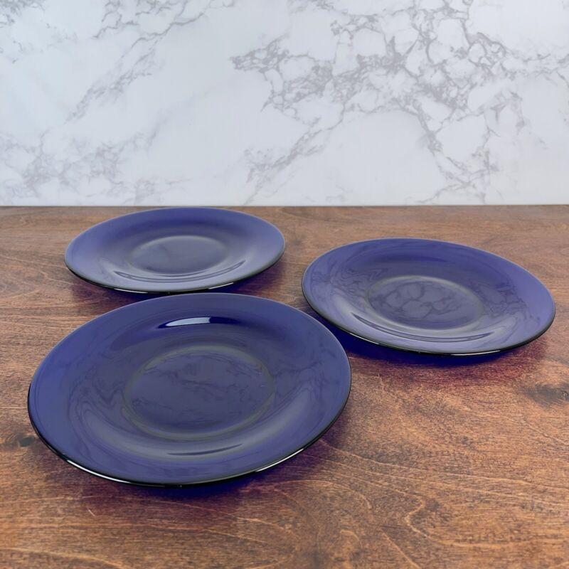 3 cobal blue glass dinner, salad, lunch plates