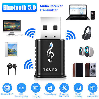 Bluetooth 5.0 Audio Transmitter Receiver USB Adapter for TV PC Car AUX Speaker