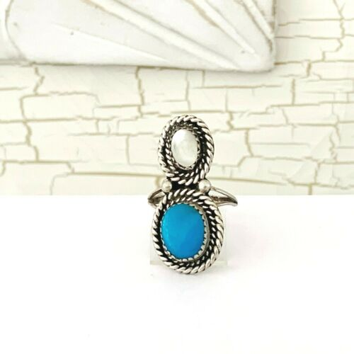 Old Long Navajo Turquoise MOP Pearl Sterling Silver NATIVE AMERICAN Sz 7.5 Ring