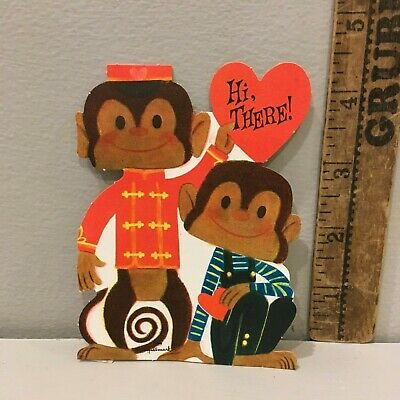 - Vtg Valentine Card Organ Grinder Monkey & Friend Overalls  Hallmark Unused