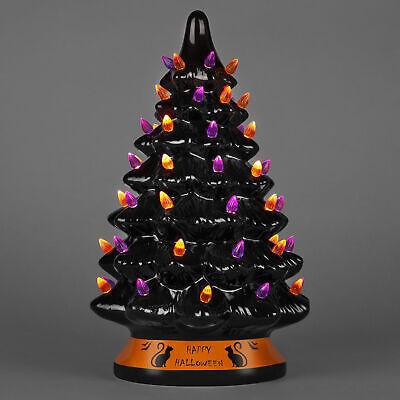 "CERAMIC PRE-LIT HALLOWEEN TREE 15"" Black Cat Tabletop with Orange Purple Lights"