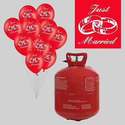 Helium Ballongas Set mit 50 Hochzeit Luftballons Just Married und Bänder rot Gas