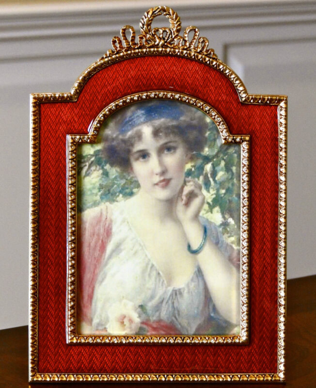 FABERGE ALEXANDRA PALACE FRAME, RED ENAMEL GUILLOCHE, CRYSTAL ACCENTS #176-R