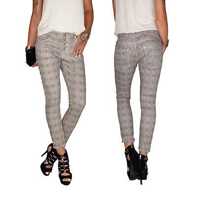 Damen Baggy Boyfriend Stretch Chino Girlfriend Röhren Jeans Hose Tweed Karo E221 Damen Baggy Jeans