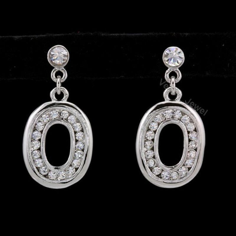 Clear Rhinestone Crystal Dangle Oval Earrings VE294