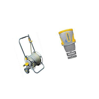 Hozelock Pro Metal Cart with 30m Hose & Hose End Connector PRO (12.5mm & 15mm)
