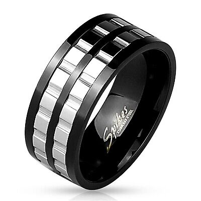 Black Stainless Steel Men's Double Gear Spinning Band Ring Size 9-13 9mm (Spinning Ring Gear)