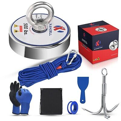 Fishing Magnet Kit Upto 645 Lbs Pull Force Rope, Carabiner, Neodymium, Glove.