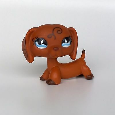 LPS Dachshund Dog #640 Littlest Pet Shop Puppy toys Swirls Tattoo Diamond Eyes