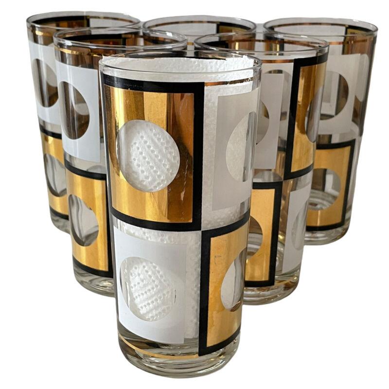 6 RARE 1960s Mod Culver High Ball Glasses Gold Black White Circle Checker MCM