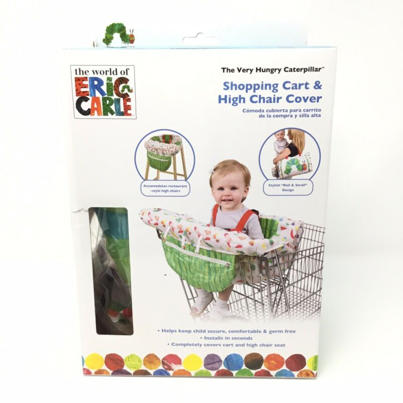 NEW VERY HUNGRY CATERPILLAR SHOPPING CART & HIGH CHAIR COVER ERIC CARLE BABY