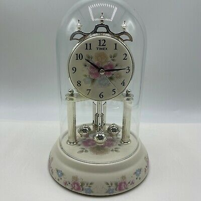 Vintage Pfaltzgraff Tea Rose Timex Chiming  Anniversary Clock