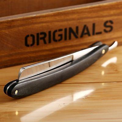 Classic Wood Black Handle Straight Edge Steel Barber Razor Folding Shaving Knife
