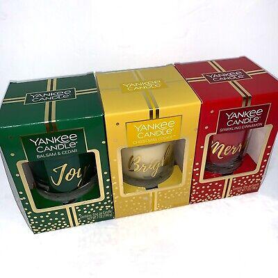 Yankee Candle Holiday Set Balsam & Cedar Christmas Cookie Sparkling Cinnamon 7oz
