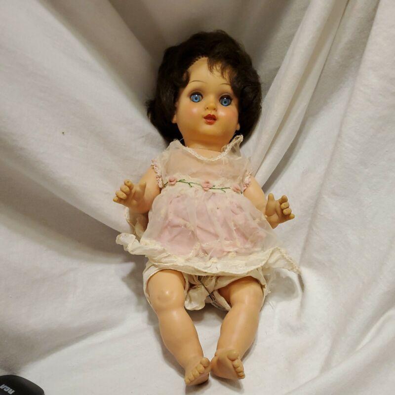 "Unmarked 12"" Vintage Vinyl Doll Life Like Rooted Brunnette Hair"